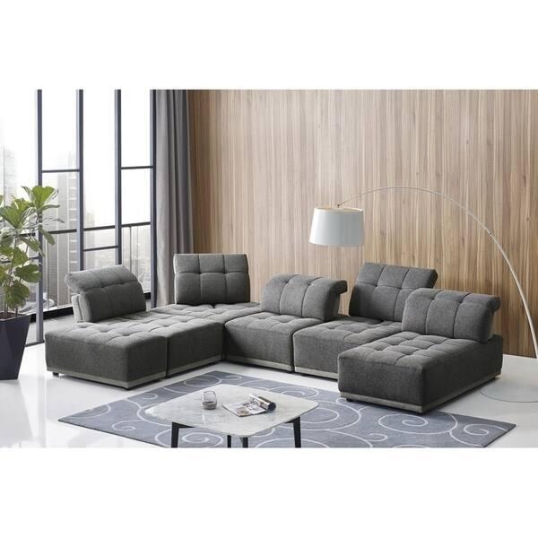 Fine Shop Divani Casa Ekron Modern Grey Fabric Modular Sectional Uwap Interior Chair Design Uwaporg
