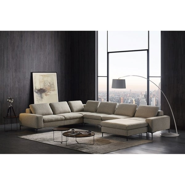 Divani Casa Cascade Modern Beige Fabric Sectional Sofa