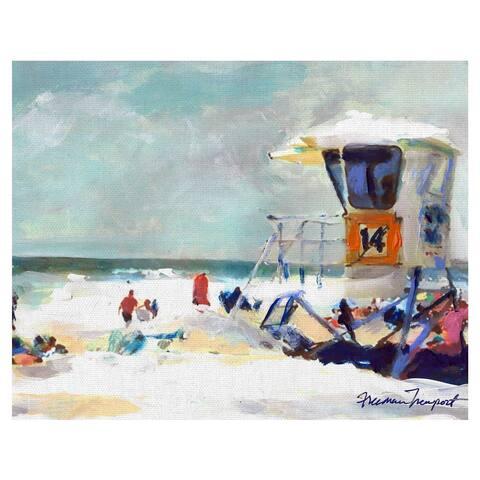 Masterpiece Art Gallery Pacific Beach Tower 14 by Freeman Newport Lifeguard Station Beach Canvas Art Print