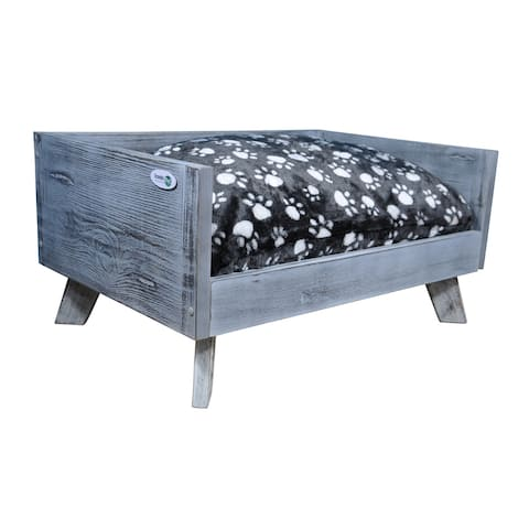 Iconic Pet Raised Wooden Pet Bed with Removable Cushion - Antique Gray - Small