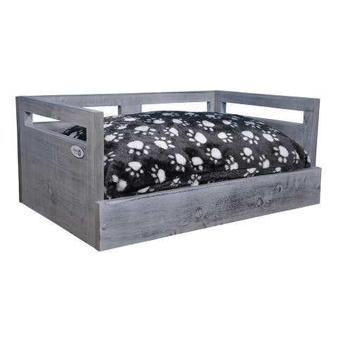 Iconic Pet Wooden Pet Bed with Removable Cushion - Antique Gray - Small