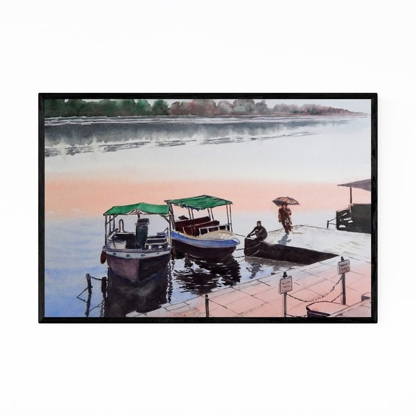 Noir Gallery India River Boats Painting Framed Art Print