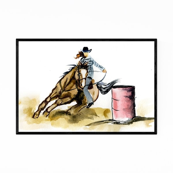 Noir Gallery Horseback Riding Gift Painting Framed Art Print