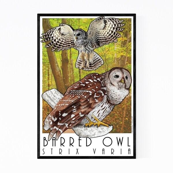 Noir Gallery Barred Owl Animal Illustration Framed Art Print