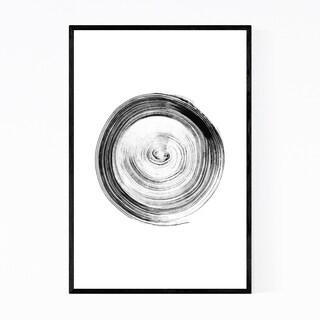 Noir Gallery Minimal Black White Ink Circle Framed Art Print