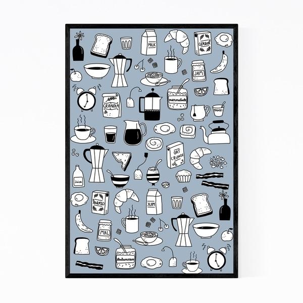 Noir Gallery Breakfast Food Pattern Kitchen Gift Framed Art Print