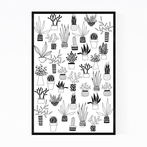 Noir Gallery Cactus Succulent Botanical Pattern Framed Art Print