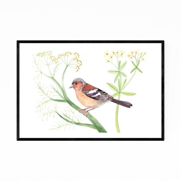 Noir Gallery Chaffinch Bird Floral Botanical Framed Art Print