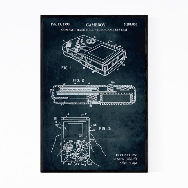 Noir Gallery Gameboy Video Game Patent Print Framed Art Print