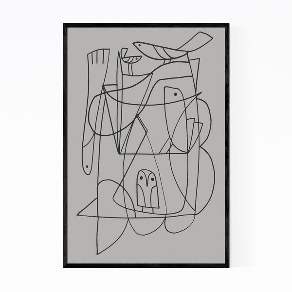 Noir Gallery Abstract Line Drawing Birds Fish Framed Art Print