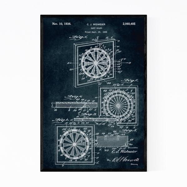 Noir Gallery Dart Board Game Patent Print Framed Art Print
