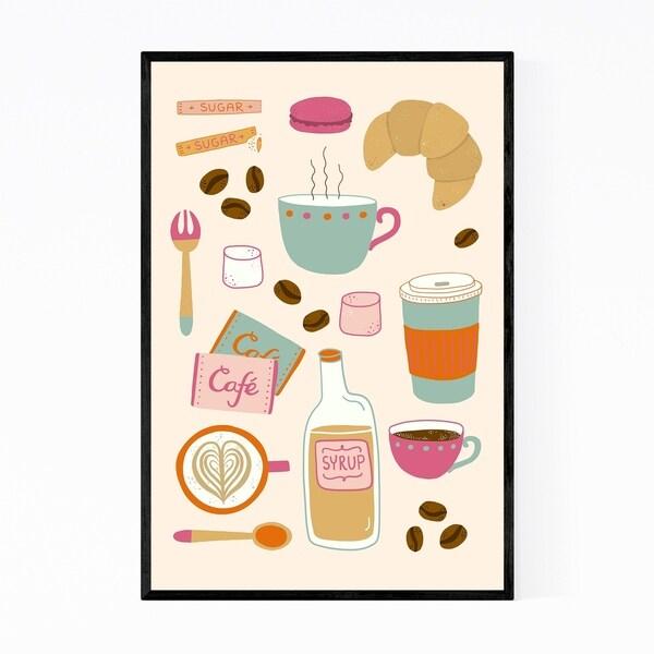 Noir Gallery Coffee Breakfast Pattern Kitchen Framed Art Print