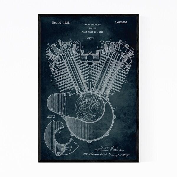 Noir Gallery Engine Motor Patent Print Framed Art Print