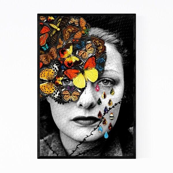 Noir Gallery Feminine Surreal Woman Floral Butterfly Framed Art Print