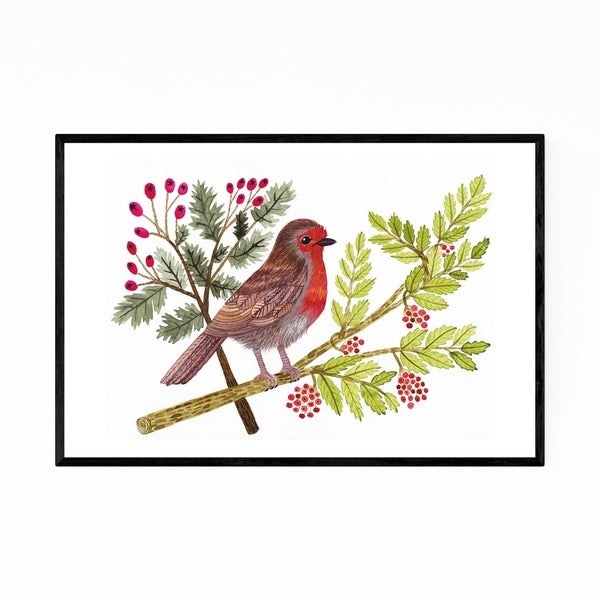Noir Gallery Robin Bird Floral Botanical Framed Art Print