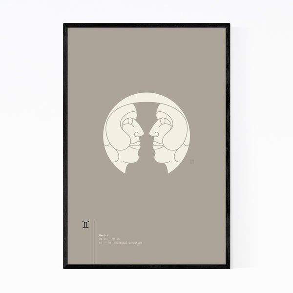 Noir Gallery Gemini Star Sign Astrology Minimal Framed Art Print