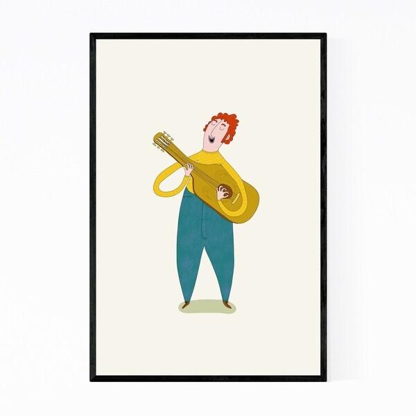 Noir Gallery Man Playing Guitar Illustration Framed Art Print