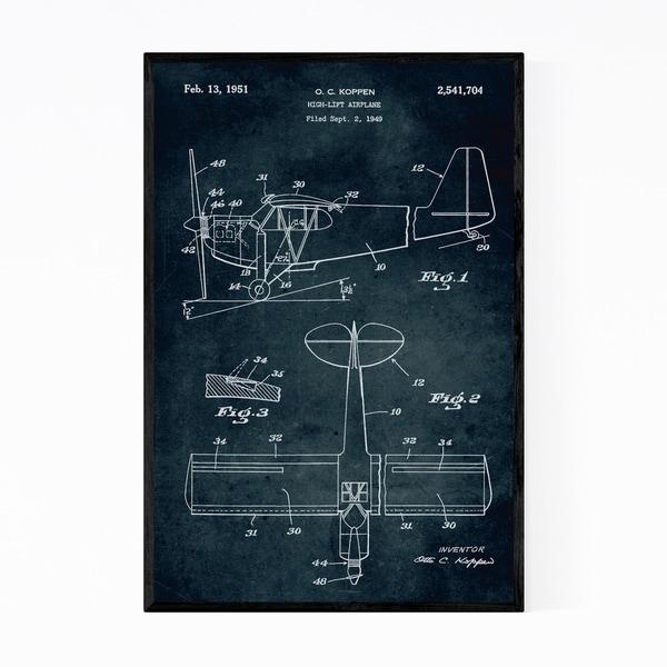 Noir Gallery Airplane Aircraft Patent Print Framed Art Print