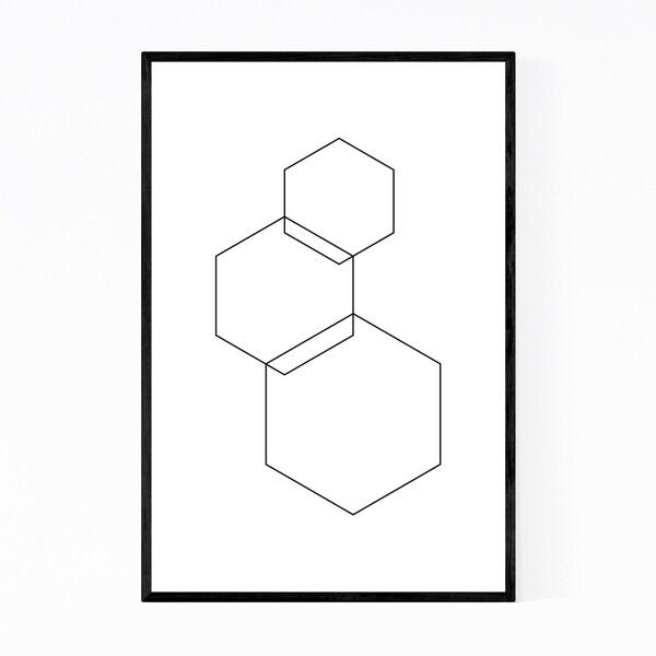 Noir Gallery Minimal Geometric Hexagons Framed Art Print