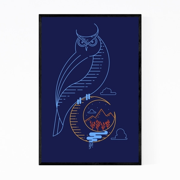 Noir Gallery Owl Animal Minimal Illustration Framed Art Print