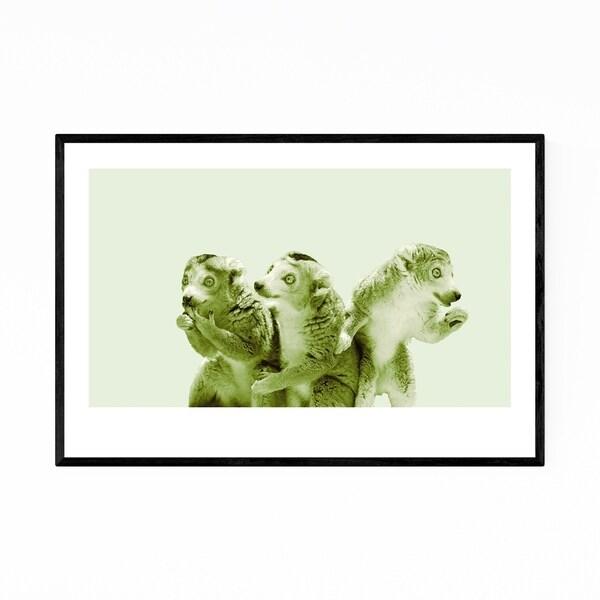 Noir Gallery Minimal Lemur Animal Pastel Portrait Framed Art Print