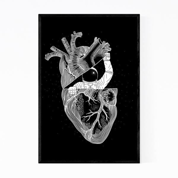 Noir Gallery Astronaut Minimal Illustration Framed Art Print