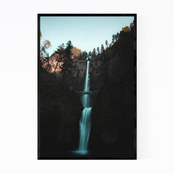Noir Gallery Multnomah Falls Oregon Waterfall Framed Art Print