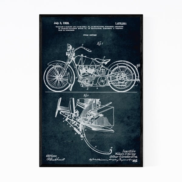 Noir Gallery Motorcycle Patent Print Framed Art Print