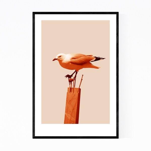 Noir Gallery Minimal Seagull Bird Animal Nautical Framed Art Print