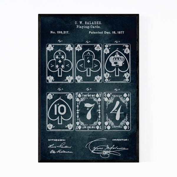 Noir Gallery Playing Cards Patent Print Framed Art Print