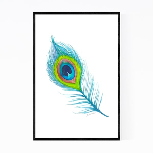 Noir Gallery Peacock Feather Painting Framed Art Print