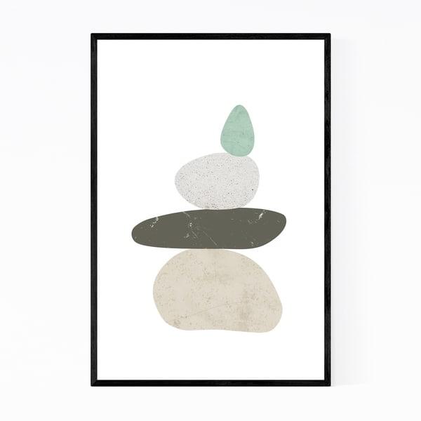 Noir Gallery Minimal Abstract Zen Pebbles Framed Art Print