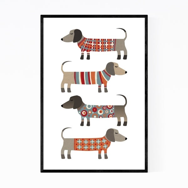 Noir Gallery Funny Dogs in Sweaters Animals Framed Art Print