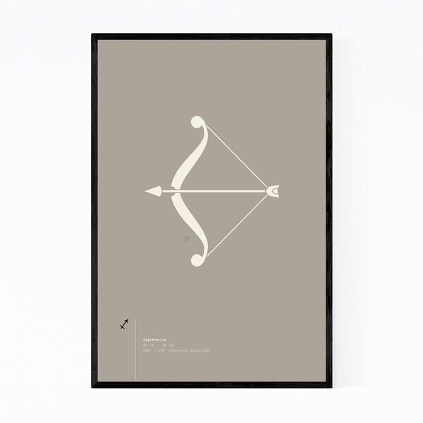 Noir Gallery Sagittarius Sign Astrology Minimal Framed Art Print