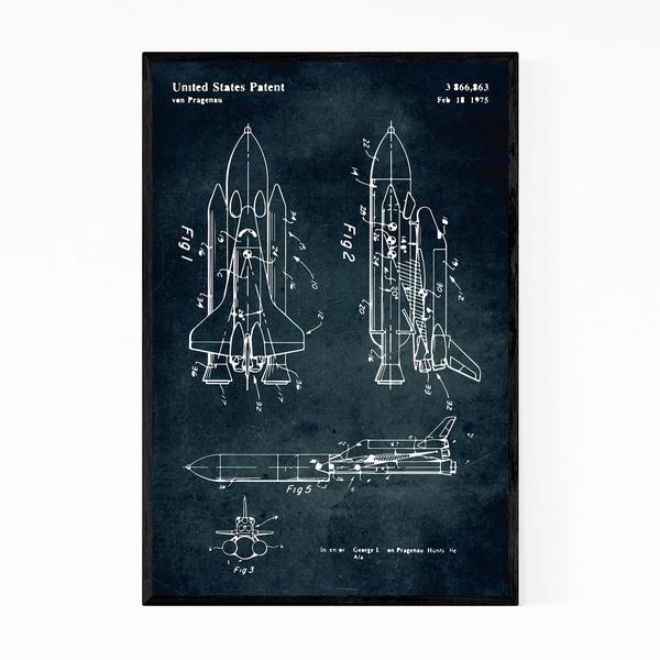 Noir Gallery Space Rocket Ship Patent Print Framed Art Print