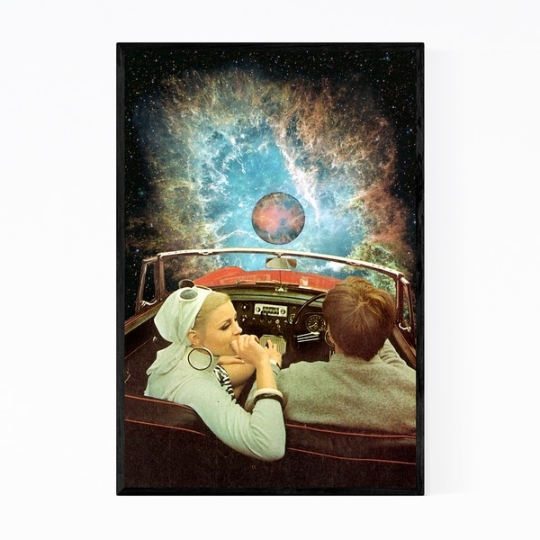 Noir Gallery Vintage Car Couple Space Collage Framed Art Print