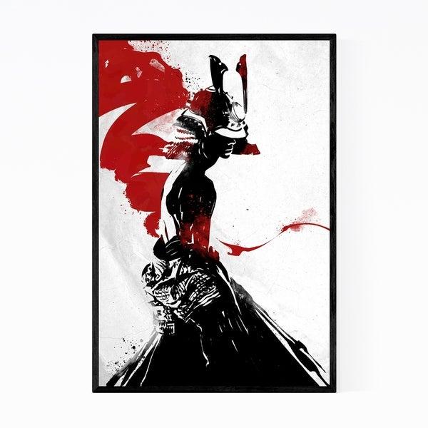 Noir Gallery Red Black Samurai Illustration Framed Art Print
