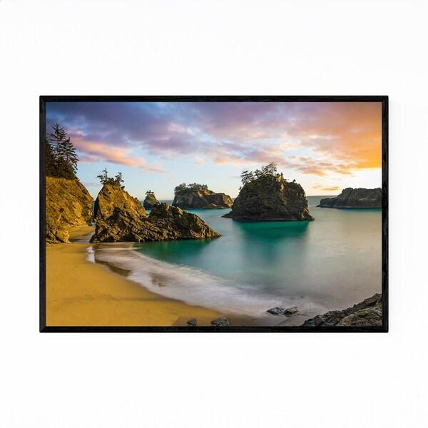 Noir Gallery Rocky Beach Oregon Sunset Framed Art Print