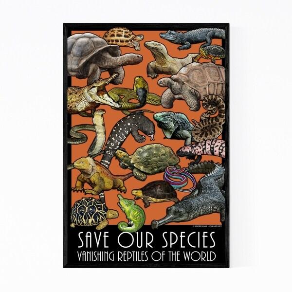 Noir Gallery Endangered Reptiles Animals Framed Art Print