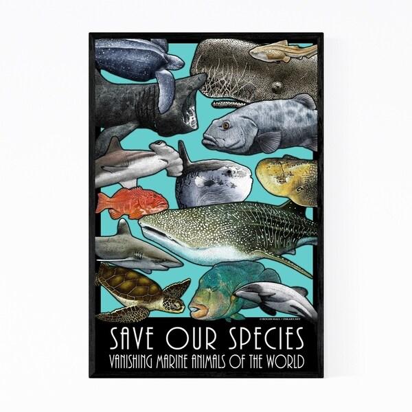 Noir Gallery Endangered Ocean Animals Framed Art Print