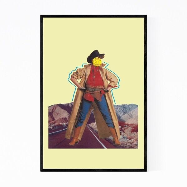 Noir Gallery Cowgirl Desert Mountain Collage Framed Art Print
