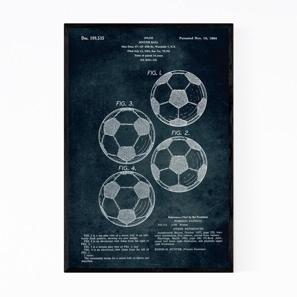 Noir Gallery Soccer Ball Patent Print Framed Art Print