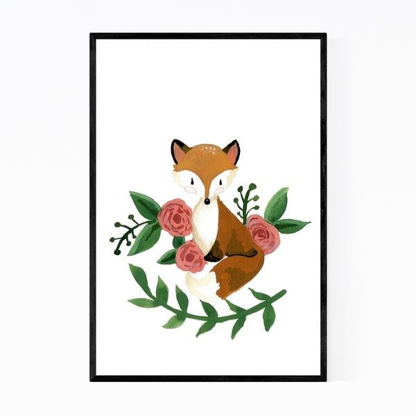 Noir Gallery Baby Fox Cute Animal Painting Framed Art Print