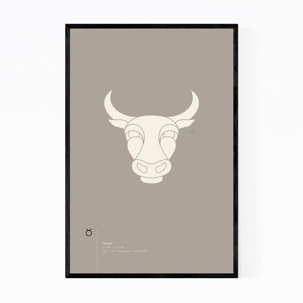 Noir Gallery Taurus Star Sign Astrology Minimal Framed Art Print