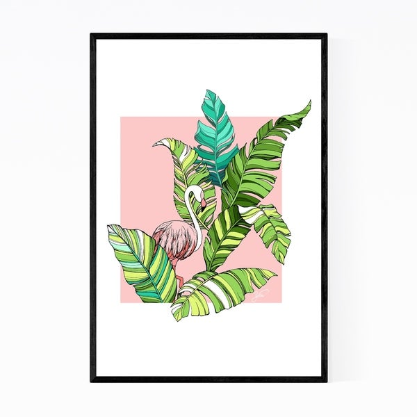 Noir Gallery Tropical Floral Flamingo Palm Leaves Framed Art Print