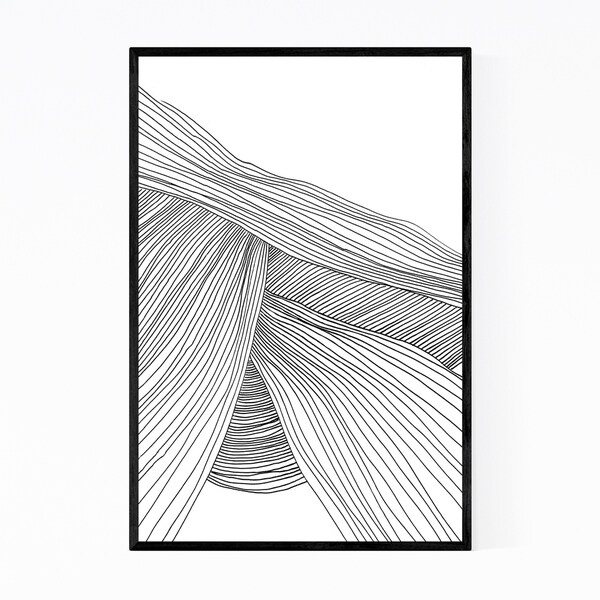 Noir Gallery Minimal Abstract Line Drawing Wave Framed Art Print