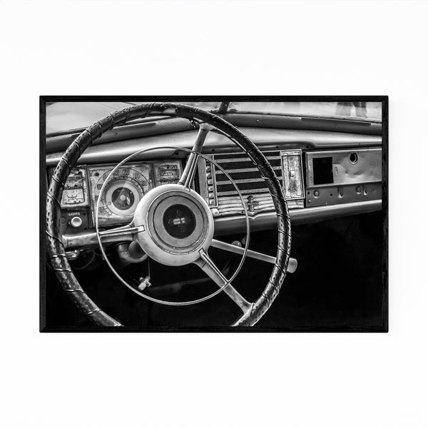 Noir Gallery Vintage Car Black & White Photo Framed Art Print