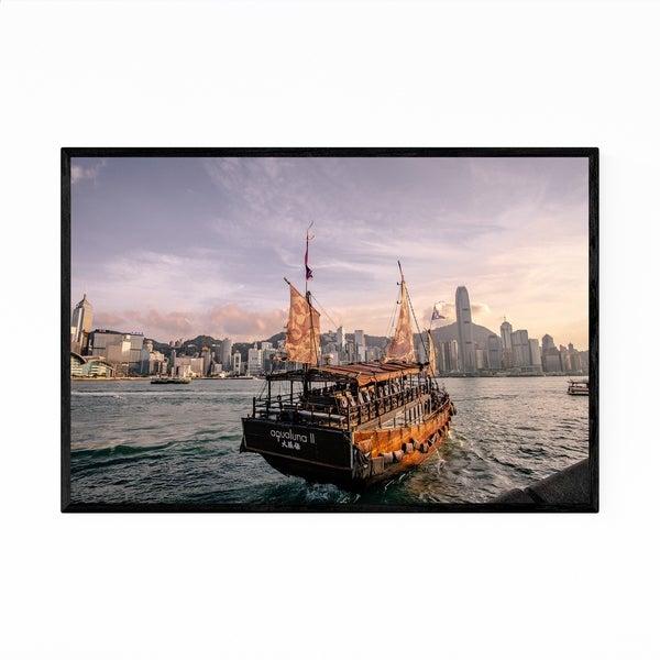 Noir Gallery Hong Kong Skyline Victoria Harbour Framed Art Print