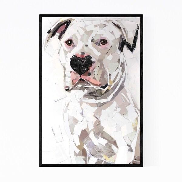 Noir Gallery White Pit Bull Dog Collage Framed Art Print