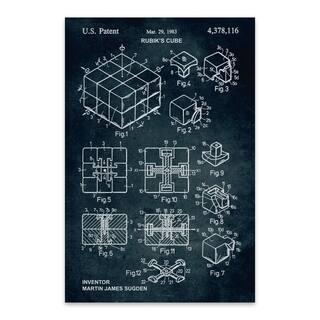 Noir Gallery Rubik's Cube Patent Print Metal Wall Art Print